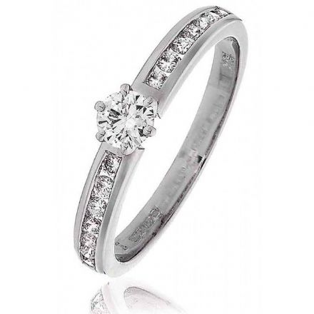 Platinum 0.30ct Solitaire H SI Diamond Engagement Ring With Diamond Shoulders. , P4DS